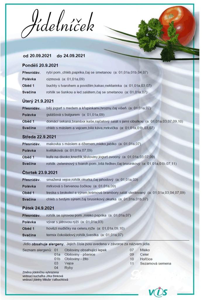 Jídelníček 20.9. - 24.9.2021