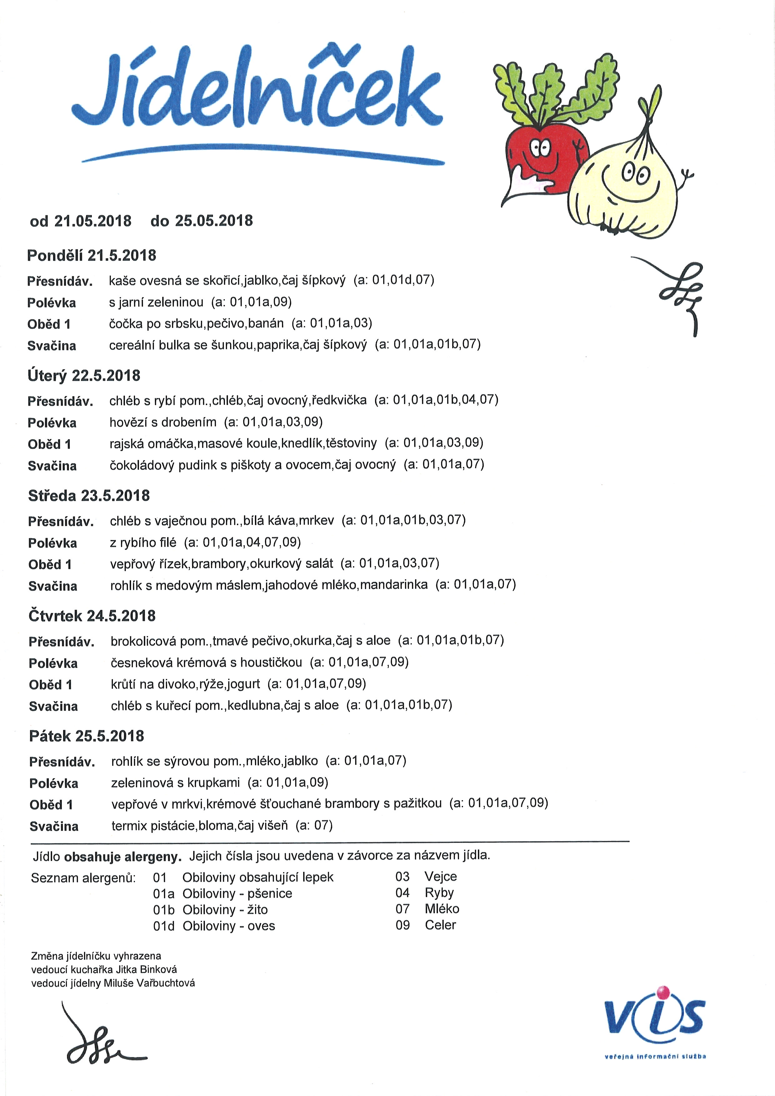 Jídelníček 21.5.-25.5.2018