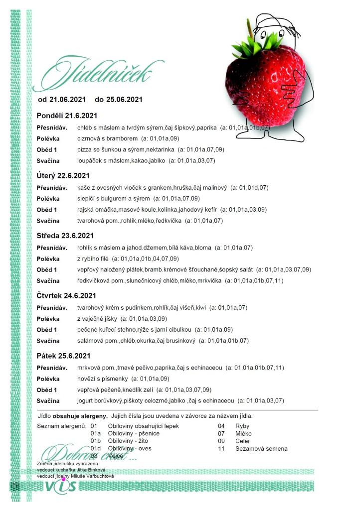 Jídelníček 21.6.-25.6.2021