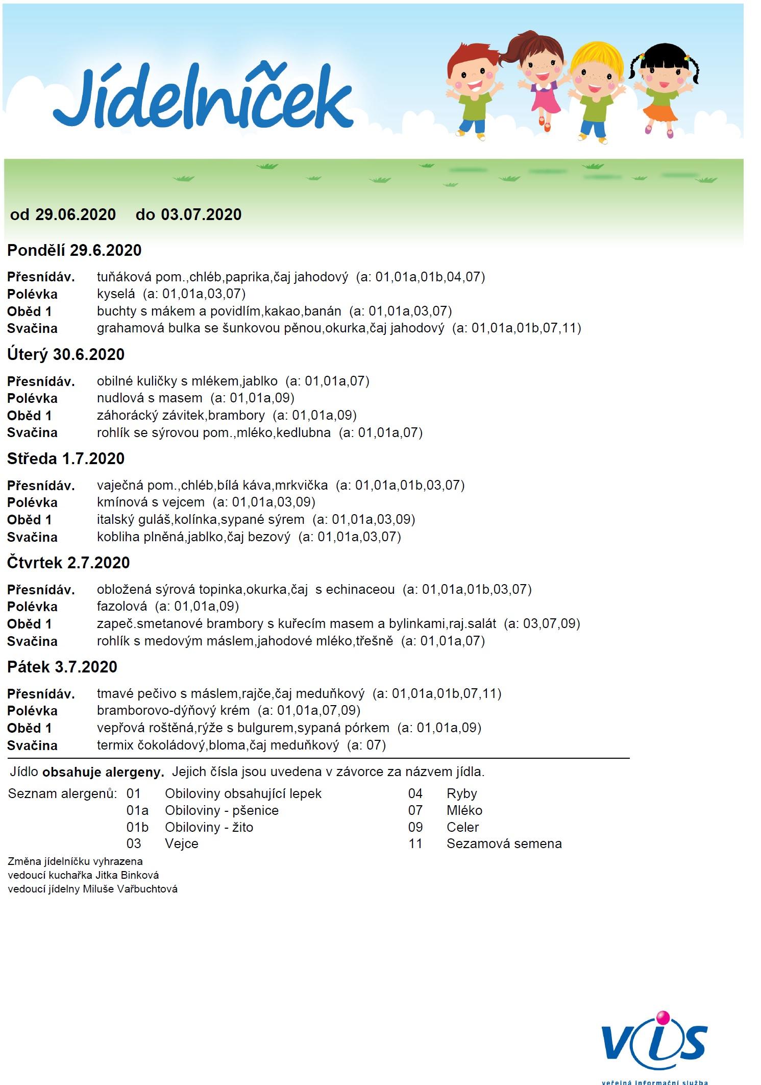Jídelníček 29.6. - 3.7.2020