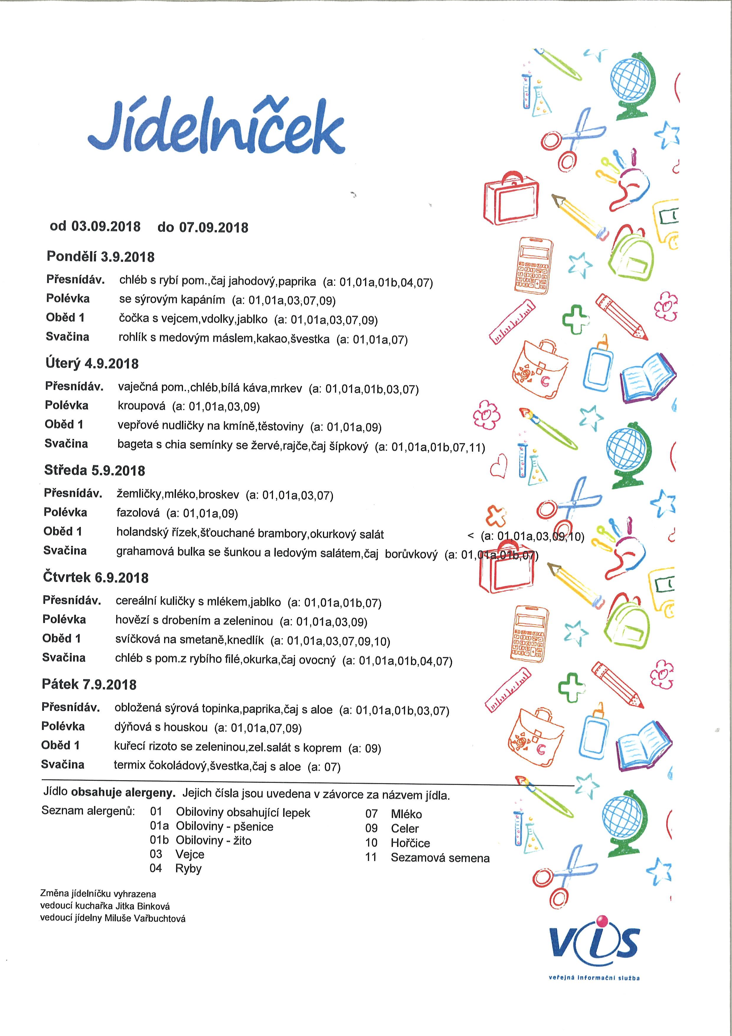 Jídelníček 3.9.-7.9.2018
