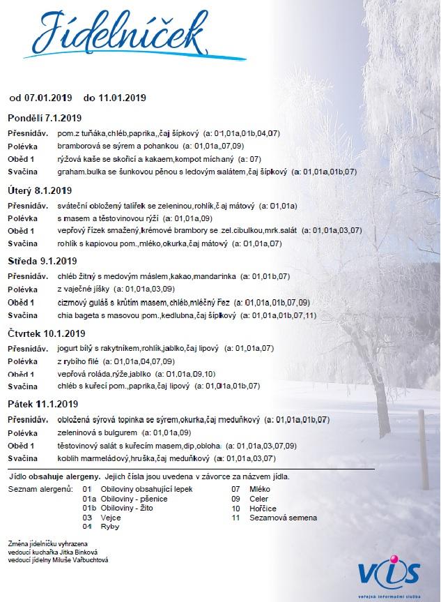 Jídelníček 7.1.2019 - 11.1.2019