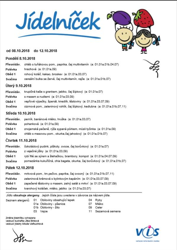 Jídelníček 8.10 - 12.10.2018